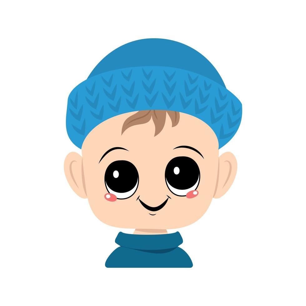 criança com olhos grandes e um sorriso largo em um chapéu de malha azul vetor