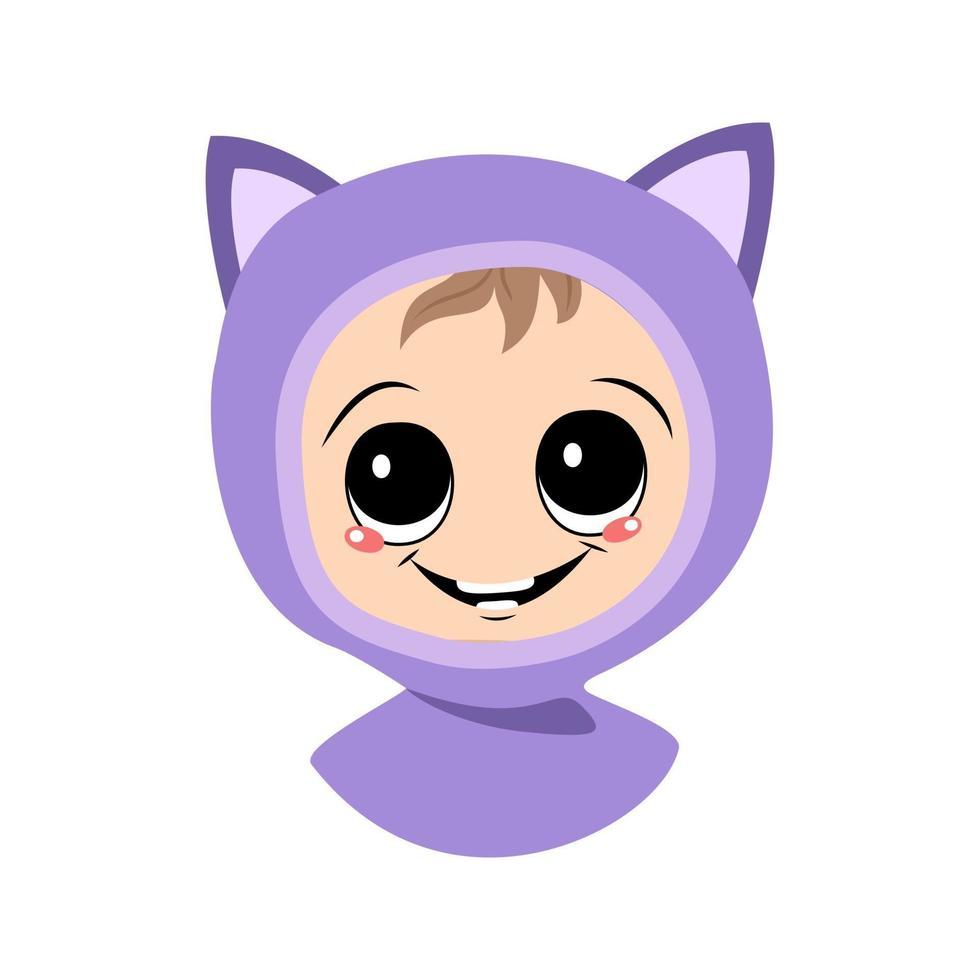 avatar de uma criança com olhos grandes e um sorriso largo em um chapéu de gato vetor