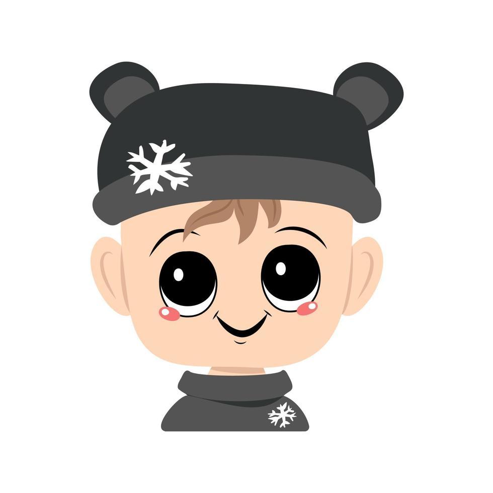 criança com olhos grandes e um sorriso largo em um chapéu de urso com um floco de neve vetor