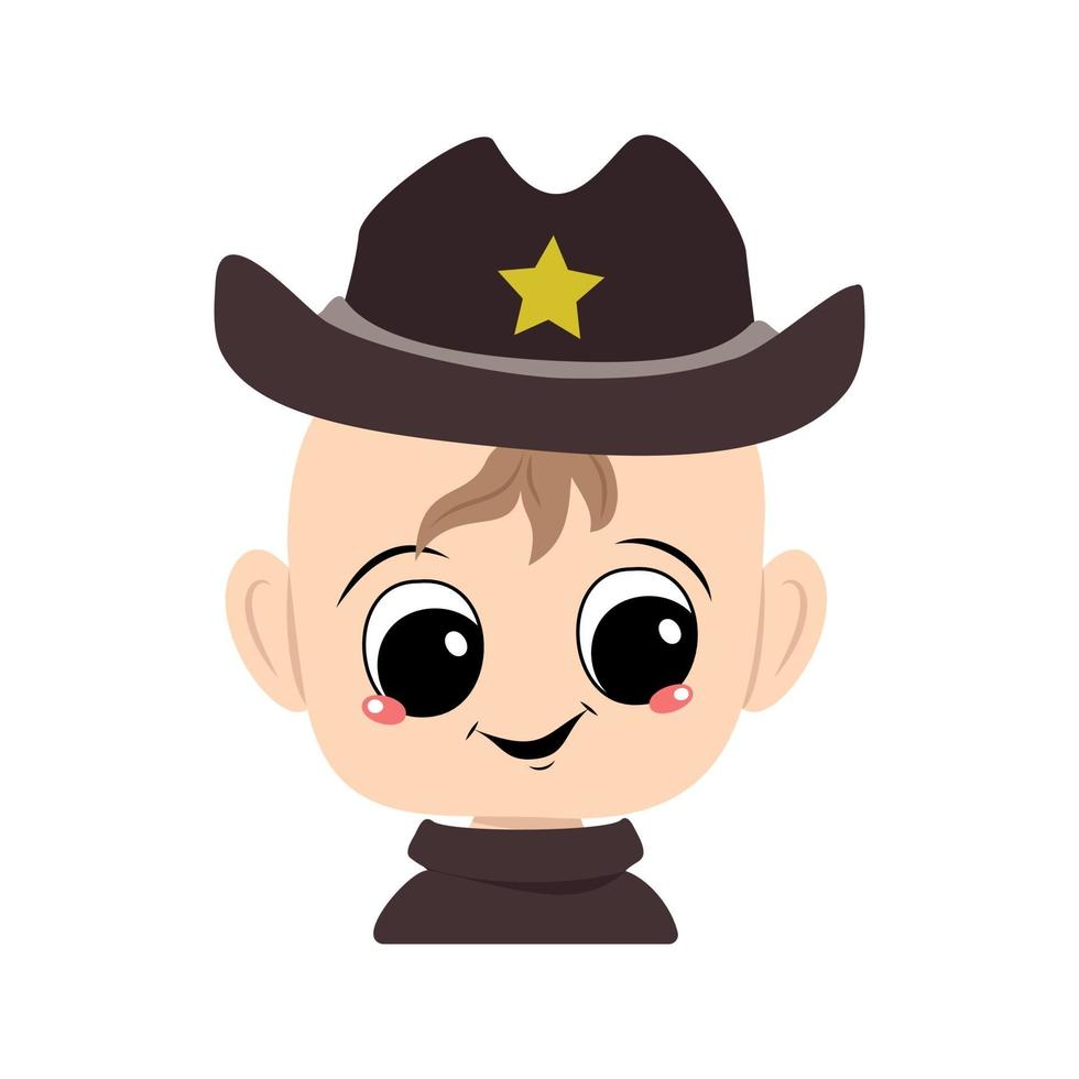 criança com olhos grandes e sorriso largo em chapéu de xerife com estrela amarela vetor