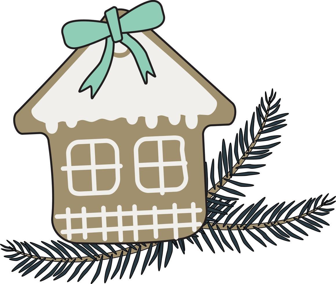 casa de pão de mel de ano novo e galho de árvore de natal vetor