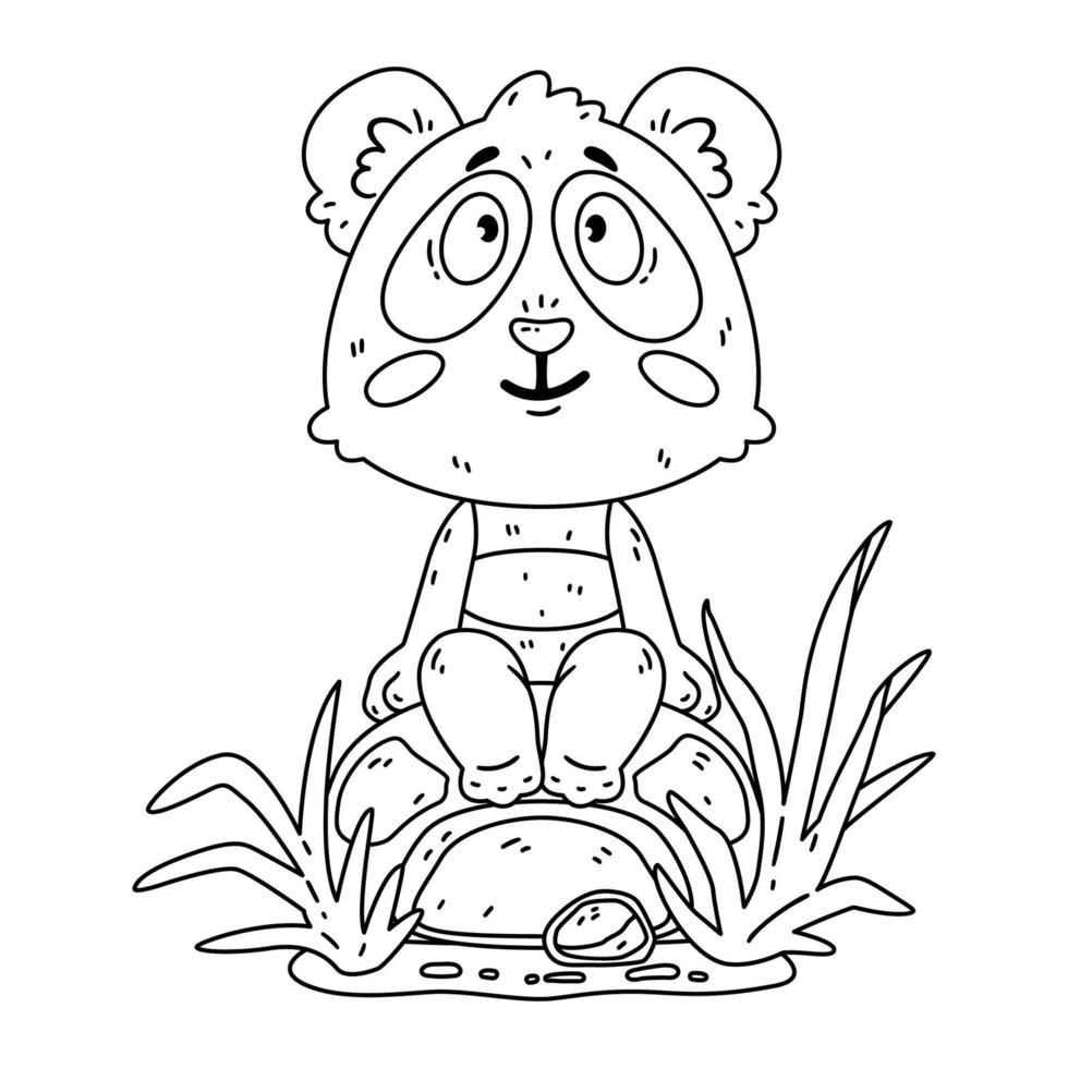 urso panda fofo sentado na rocha. vetor