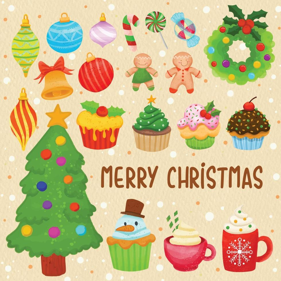 conjunto de decoração de Natal pintada em aquarela, clipart festivo. vetor