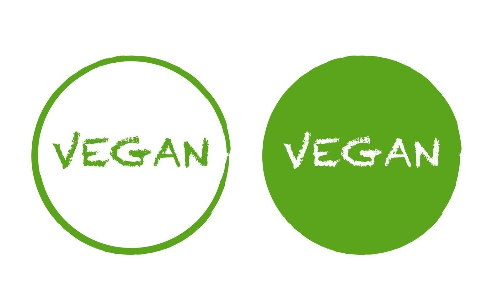 logotipo simples desenhado à mão de comida vegana no círculo verde vetor