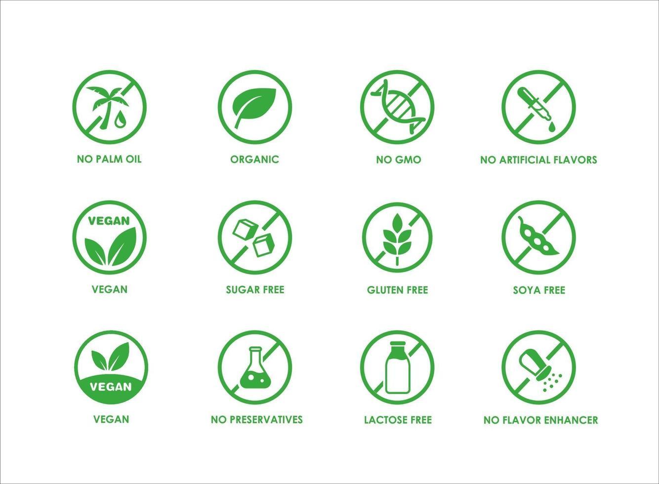 pacote de ícones de produtos dietéticos naturais saudáveis e sem alergênicos vetor