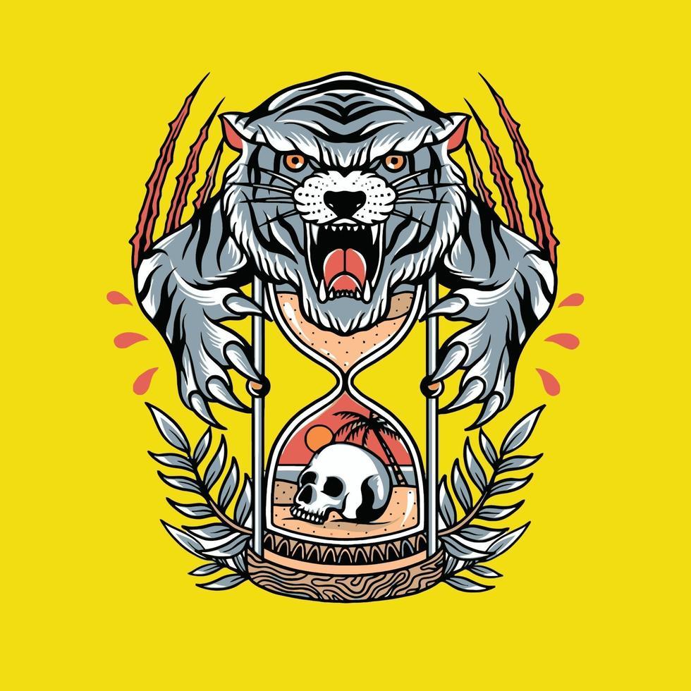tigre de dentes brancos emboscando sua presa vetor