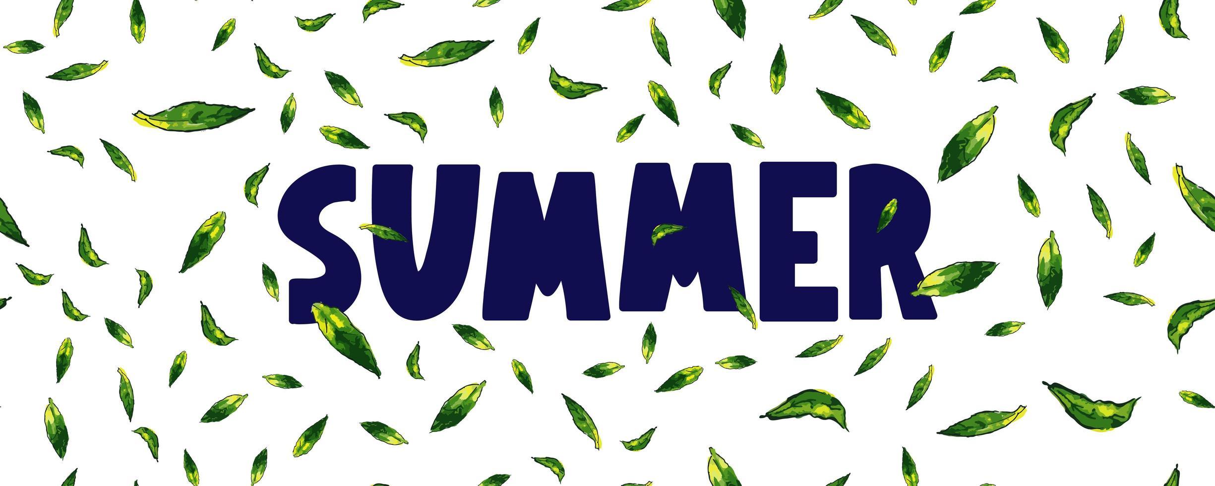 banner de venda de verão com vetor de letras de folhas