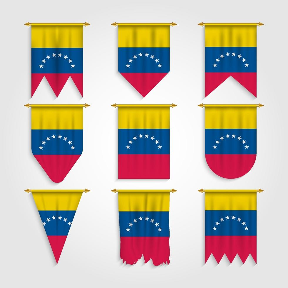 bandeira da venezuela em diferentes formas vetor