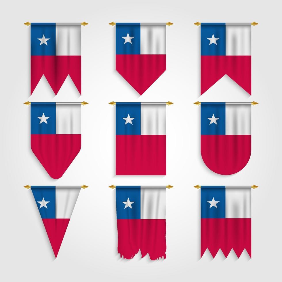 bandeira do chile em diferentes formas, bandeira do chile em várias formas vetor
