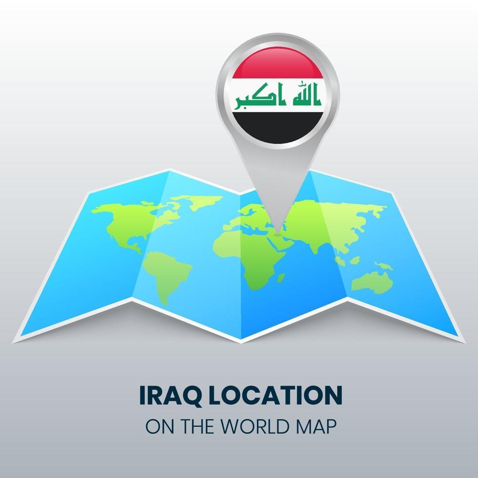 ícone de localização do Iraque no mapa mundial, ícone de pino redondo do Iraque vetor