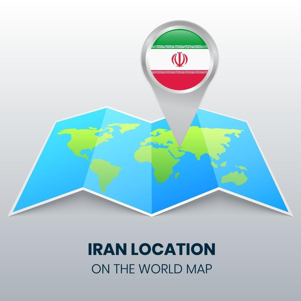 ícone de localização do Irã no mapa mundial, ícone de alfinete redondo do Irã vetor
