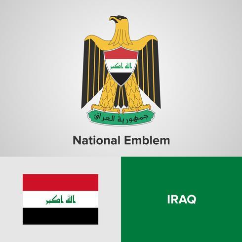 Emblema nacional do Iraque, mapa e bandeira vetor