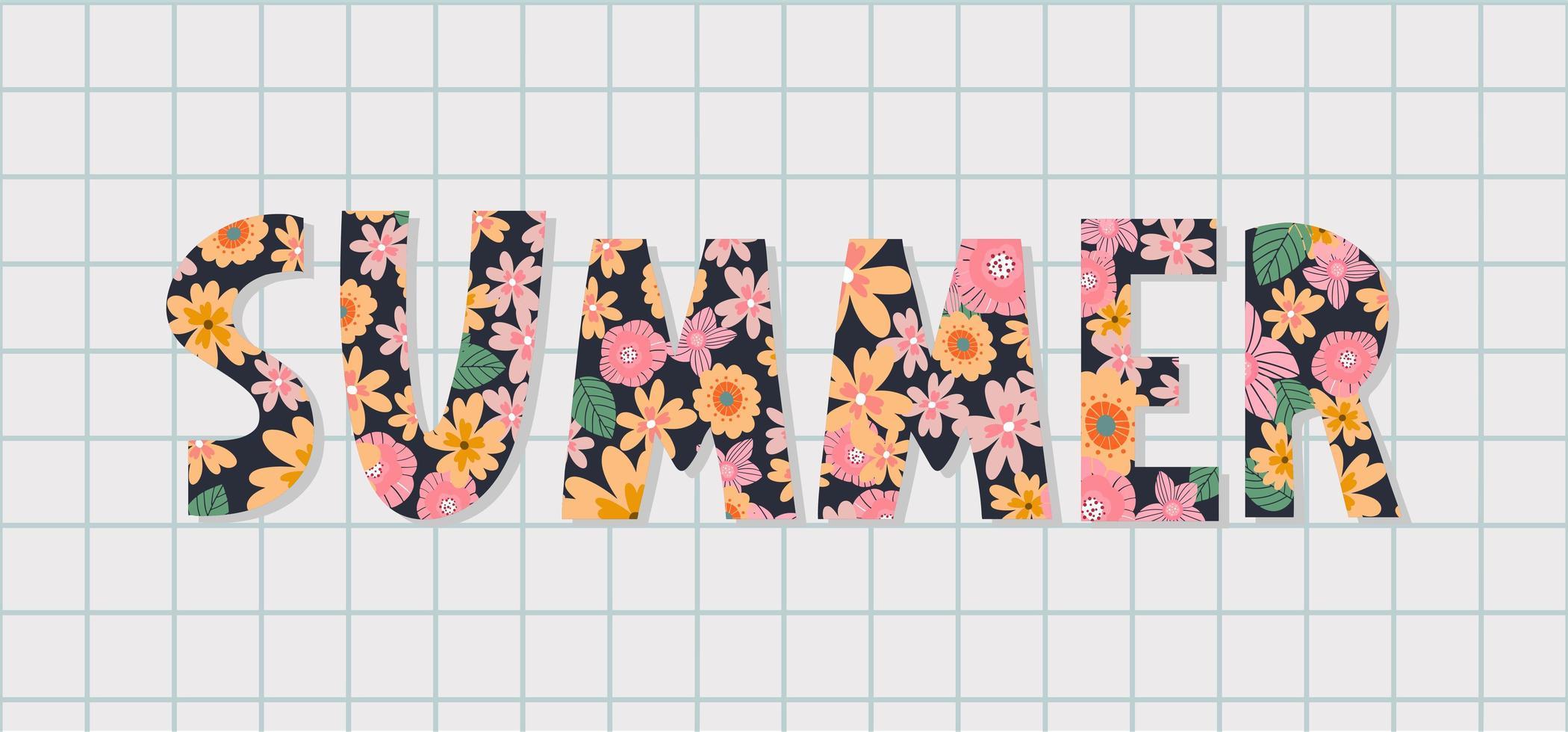 banner de venda de verão com vetor de carta de flores
