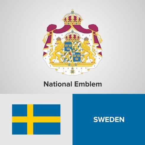 Emblema nacional da Suécia, mapa e bandeira vetor