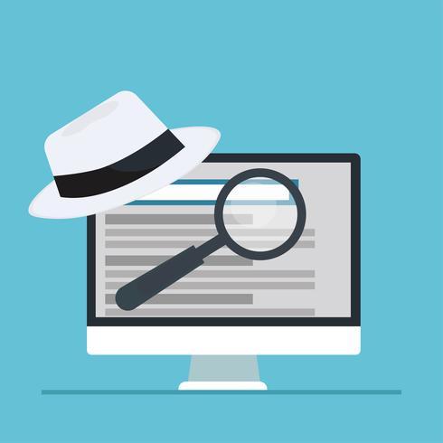Bandeira de seo de chapéu preto e branco. Lupa e outras ferramentas e táticas de otimização de mecanismo de pesquisa. Ilustração vetorial plana vetor