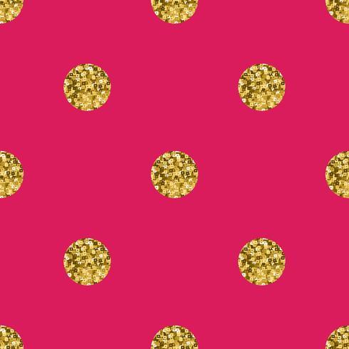 Ouro do às bolinhas do teste padrão no fundo cor-de-rosa. vetor