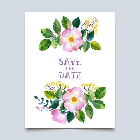 aquarela colorida floral com flores do verão vetor