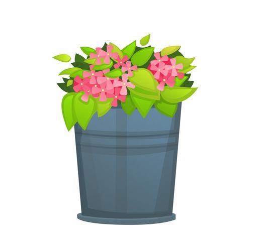 Flor cor-de-rosa com a folha verde no potenciômetro de cubeta metálico. - vetor