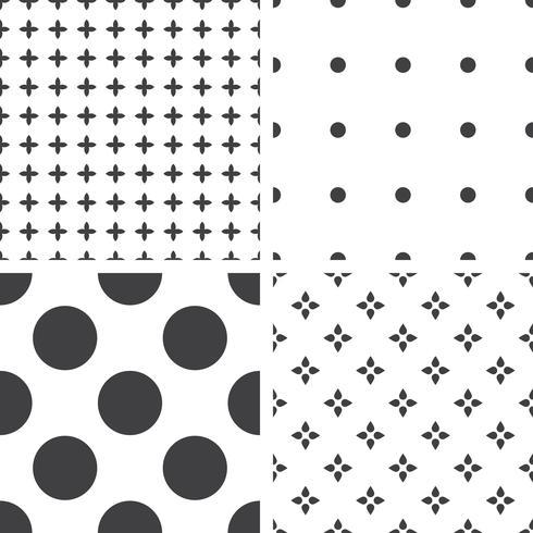 Conjunto de padrões universais sem costura geométricos monocromáticos, lado a lado. vetor