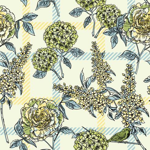 Teste padrão floral sem costura com fundo xadrez. vetor