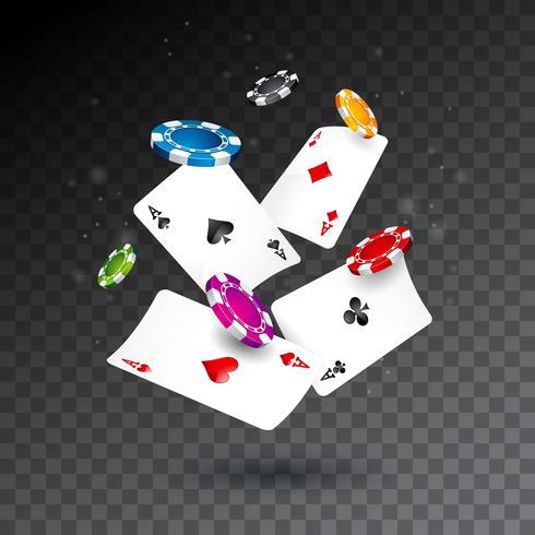 Fichas de casino caindo realistas e ilustração de cartas de poker vetor