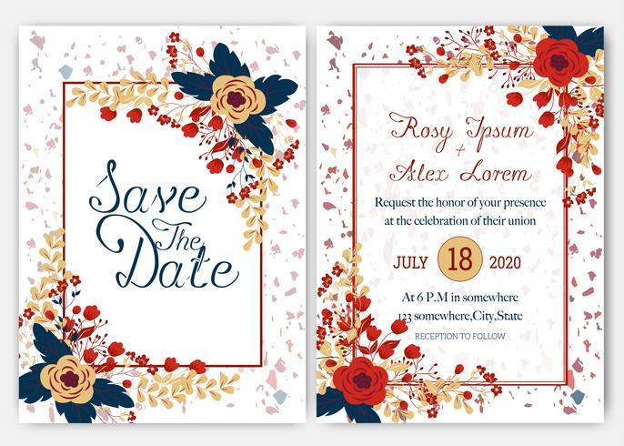Cartões de casamento elegantes consistem em vários tipos de flores vetor