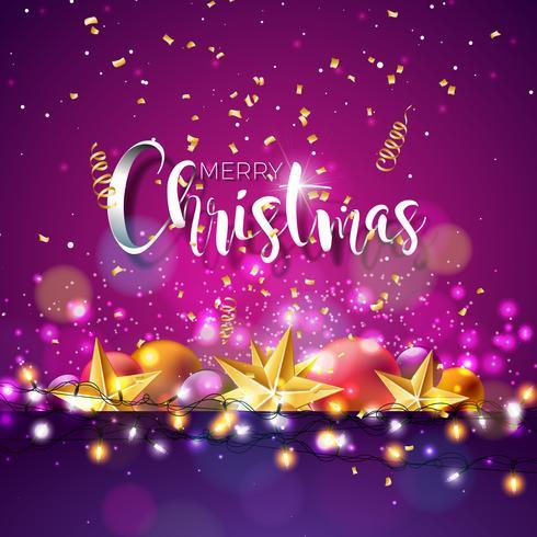 Ilustração de Natal e ano novo com tipografia vetor