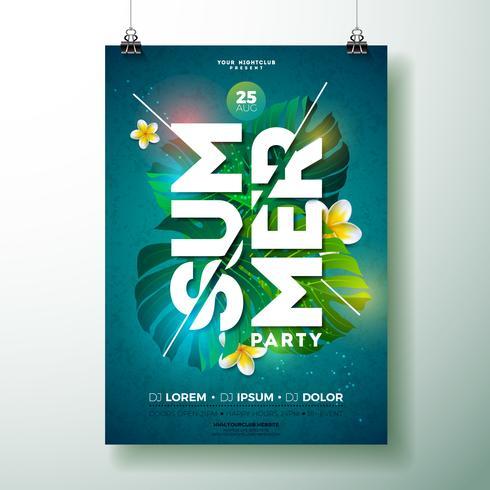 Design de panfleto de festa de praia de verão com plantas tropicais & flores vetor