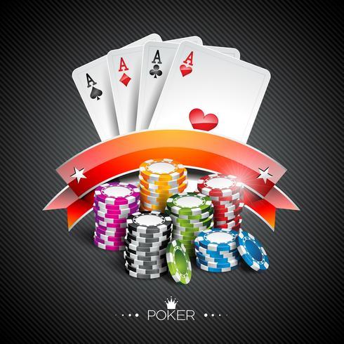 Ilustração vetorial em um tema de cassino com cores jogando fichas e cartas de poker vetor