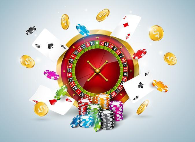 Ilustração de cassino com roleta, cartas de pôquer e fichas vetor
