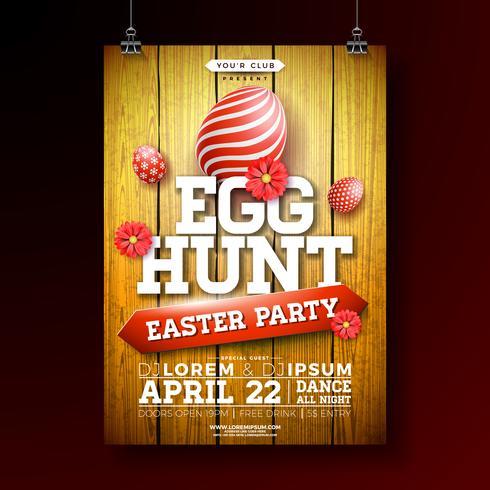 Vector Easter Egg caça festa Flyer ilustração com ovo pintado e flor