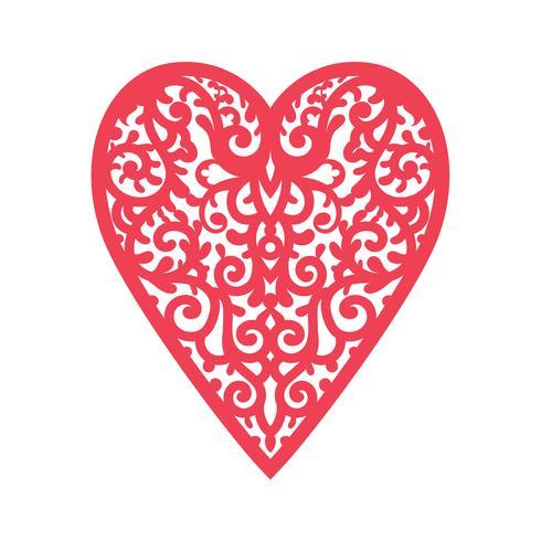 Coração do molde com as flores para o corte do laser, cartão scrapbooking. vetor
