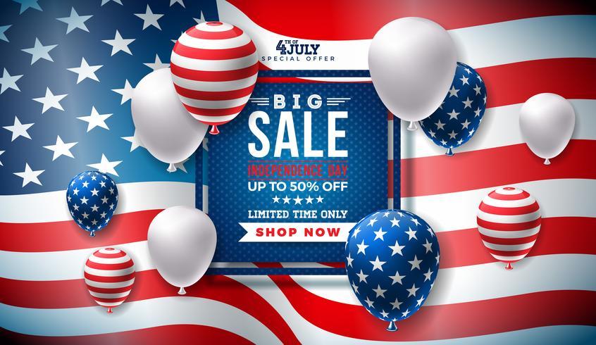 4 de julho, dia da independência venda Banner Design vetor