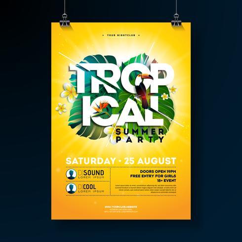 Design de panfleto de festa de verão tropical vetor