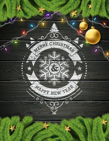 Feliz Natal e Feliz Ano Novo Ilustração vetor