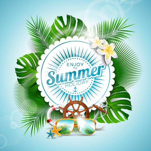 Vector Aproveite a ilustração tipográfica de férias de verão com plantas tropicais