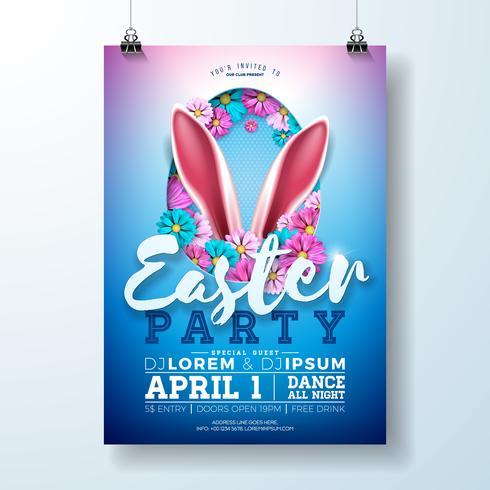 Ilustração de panfleto de festa de Páscoa com orelhas de coelho vetor