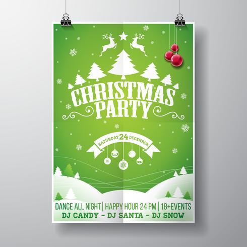 Vector design de festa de Natal feliz com elementos de tipografia do feriado e bolas de vidro no fundo de paisagem de inverno.