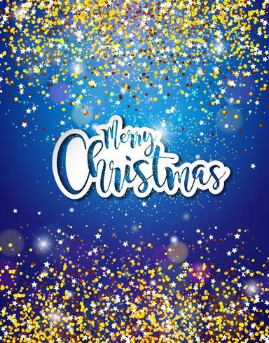 Feliz Natal mão Lettering ilustração em fundo brilhante vetor