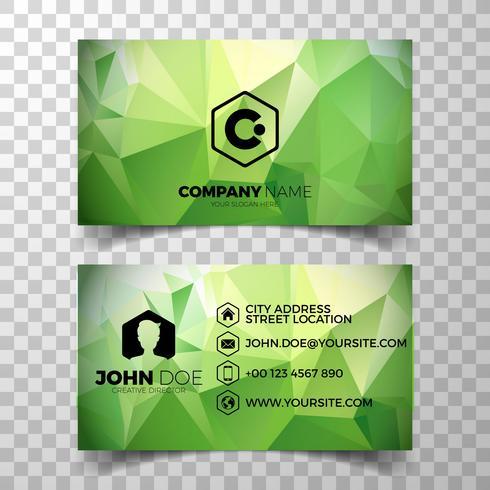 Modelo de design moderno cartão verde vetor no backgound limpo.