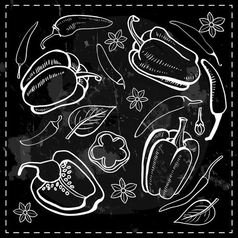 pimenta, pimentão, pimenta legumes vetor