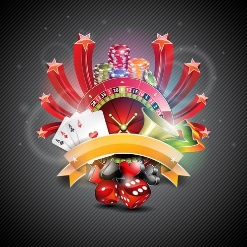 Ilustração vetorial em um tema de cassino com roda de croulette e cartas de poker vetor