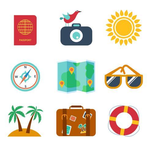 Ícones de viagens, verão no estilo plano vetor