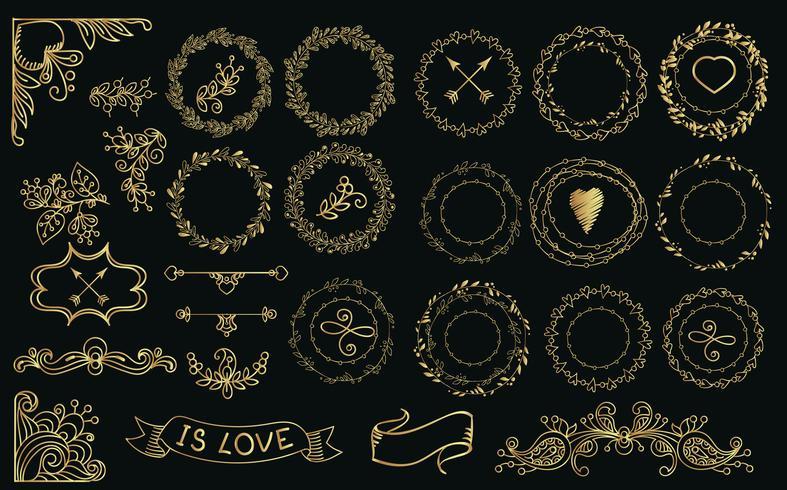 Coleção de louros e grinaldas de ouro handdrawn. vetor