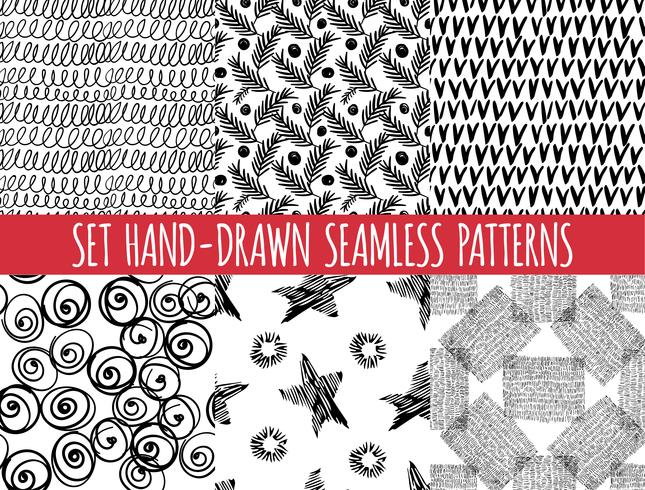 Conjunto de quatro sem costura abstratos desenhados à mão padrão, vetor