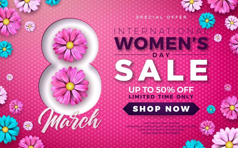 Projeto da venda do dia das mulheres com a flor colorida bonita no fundo cor-de-rosa. vetor