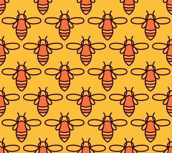 Padrão sem emenda com abelhas laranja no estilo Monoline. vetor