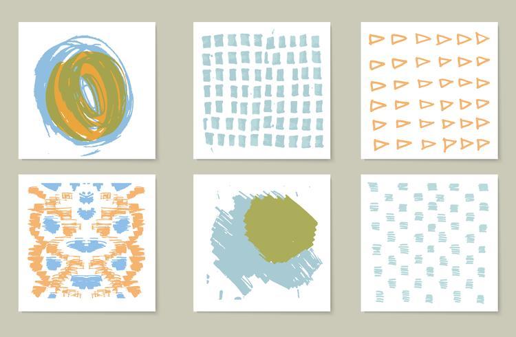 Coleção de mão-extraídas de 6 cartões de registro no diário. Textura vetor