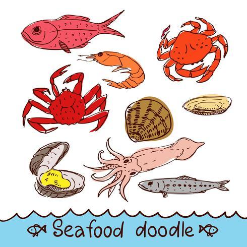 Frutos do mar, pintado no estilo do doodle, esboço, rabisco. vetor
