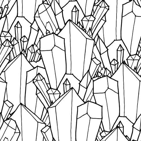 Sem costura padrão preto e branco com cristais vetor